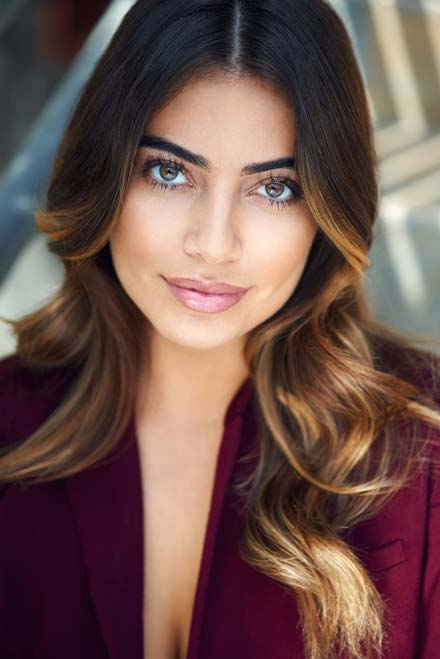 Natural light headshot of latina actress