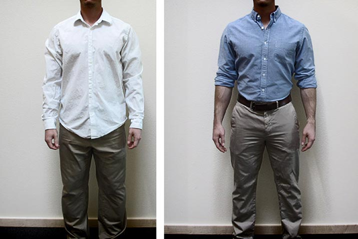 Baggy clothing will make you look fat. Clothes that fit properly will show your figure best.